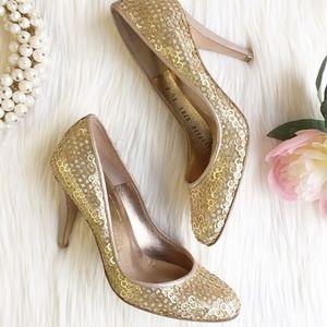 Ferragamo Gold Sequin Heels 9